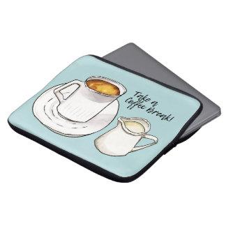 Capa Para Notebook Aguarela da ruptura de café e ilustração da tinta