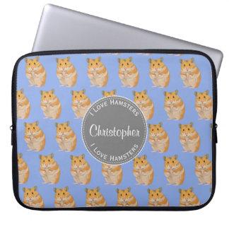 Capa Para Notebook Azul eu amo o teste padrão do hamster dos hamster
