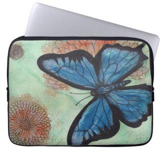 Capa Para Notebook Borboleta do azul da aguarela