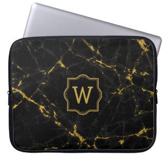 Capa Para Notebook Brilho de pedra de mármore preto do ouro