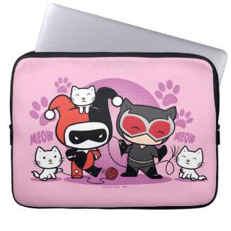 Capa Para Notebook Chibi Harley Quinn & mulher-gato de Chibi com