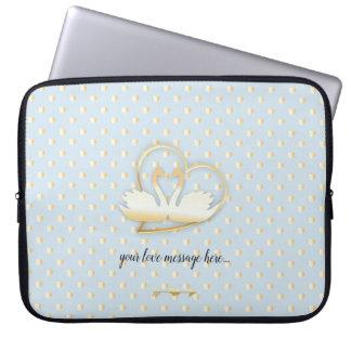 Capa Para Notebook Cisnes douradas do coração, amor delicado