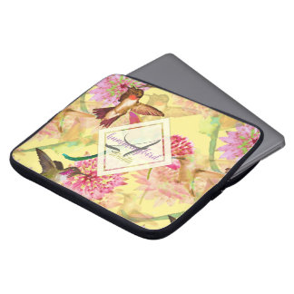 Capa Para Notebook Colibris e aguarela do monograma do Astrantia