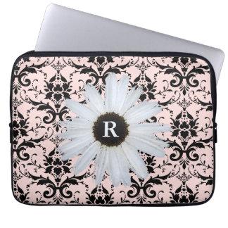 Capa Para Notebook Cor damasco elegante Monogrammed do rosa | da