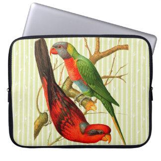 """Capa Para Notebook De """"A bolsa de laptop dois papagaios do vintage"""""""