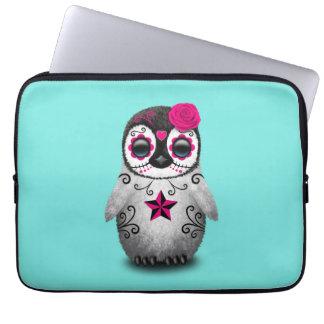 Capa Para Notebook Dia cor-de-rosa do pinguim inoperante do bebê