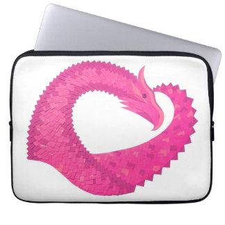 Capa Para Notebook Dragão do coração do rosa quente no branco