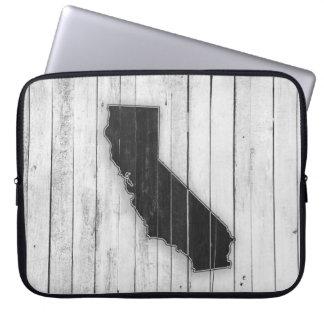 Capa Para Notebook Estado rústico branco e preto de Califórnia do