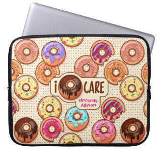 Capa Para Notebook Eu doce engraçado bonito da rosquinha do cuidado