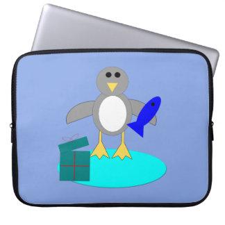 Capa Para Notebook Feliz Natal que pesca o saco do laptop do pinguim
