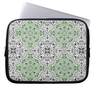 Capa Para Notebook Flourish Rococo verde do teste padrão