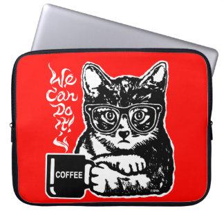 Capa Para Notebook Gato engraçado motivado pelo café