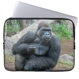 Capa Para Notebook Gorila na bolsa de laptop do jardim zoológico