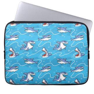 Capa Para Notebook Grandes tubarões brancos dos desenhos animados