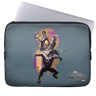 Capa Para Notebook Guerreiros da pantera preta   Wakandan pintados
