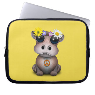 Capa Para Notebook Hippie bonito do hipopótamo do bebê