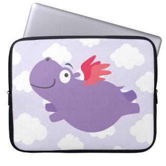 Capa Para Notebook Ilustração do hipopótamo do vôo