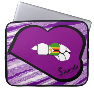 Capa Para Notebook Lábios do roxo da bolsa de laptop de Zimbabwe dos