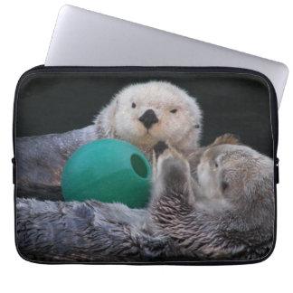 Capa Para Notebook Laptop brincalhão da foto das lontras de mar