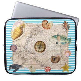 Capa Para Notebook Listras azuis do tesouro marinho