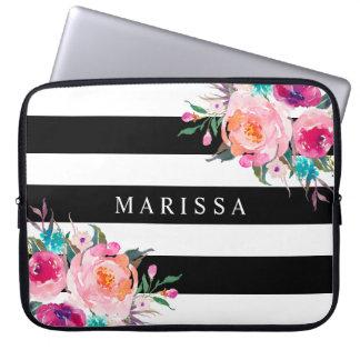 Capa Para Notebook Listras brancas pretas florais da aguarela