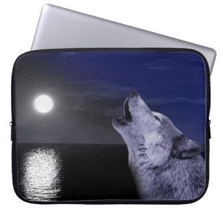 Capa Para Notebook Lobo de mar - lobo da lua - Lua cheia - lobo