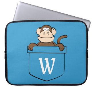 Capa Para Notebook Macaco engraçado em um bolso Monogrammed