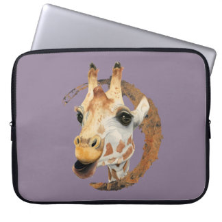 """Capa Para Notebook """"Mastigação"""" pintura da aguarela de 2 girafas"""