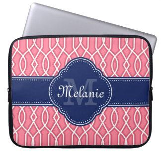 Capa Para Notebook Monograma branco cor-de-rosa brilhante do marinho