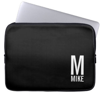 Capa Para Notebook Monograma e nome corajosos personalizados modernos