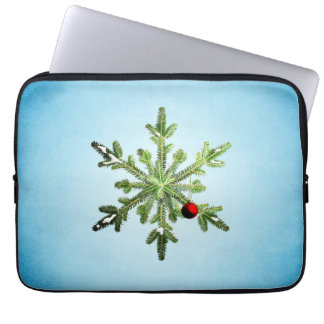 Capa Para Notebook Natal nevado bonito do floco de neve do pinho