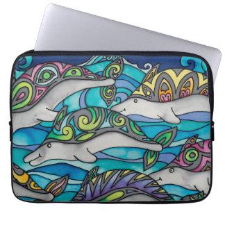 """Capa Para Notebook Neopreno 13"""" a bolsa de laptop: Série do golfinho"""