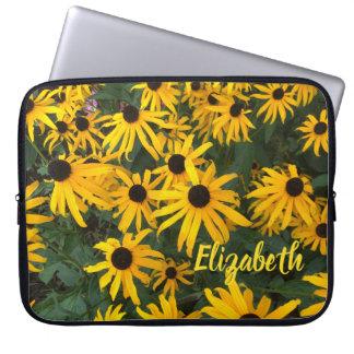 Capa Para Notebook Nome e amarelo brilhante Preto-Eyed-Susans