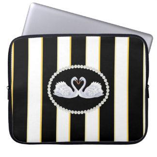 Capa Para Notebook O preto elegante listra a bolsa de laptop com
