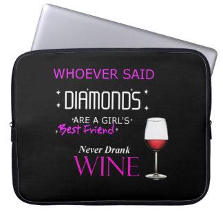 Capa Para Notebook O vinho é minha bolsa de laptop do neopreno de Bff