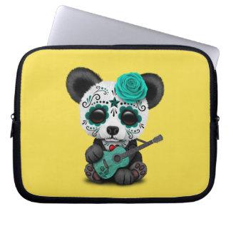 Capa Para Notebook Panda azul do crânio do açúcar que joga a guitarra