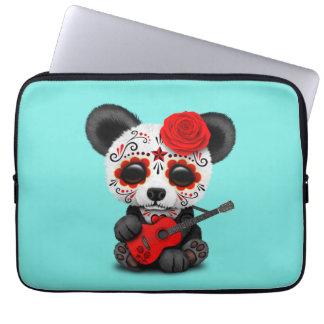 Capa Para Notebook Panda vermelha do crânio do açúcar que joga a