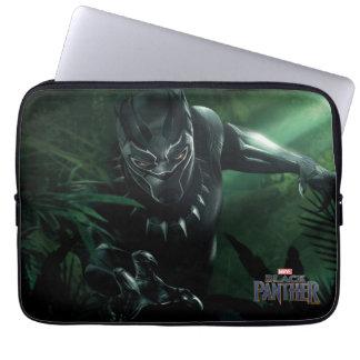 Capa Para Notebook Pantera preta   na selva