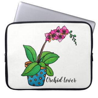 Capa Para Notebook Planta da orquídea da aguarela no pote bonito