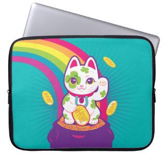 Capa Para Notebook Pote de boa sorte de Maneki Neko do gato de ouro