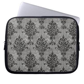 Capa Para Notebook Preto do damasco na pedra cinzenta do falso