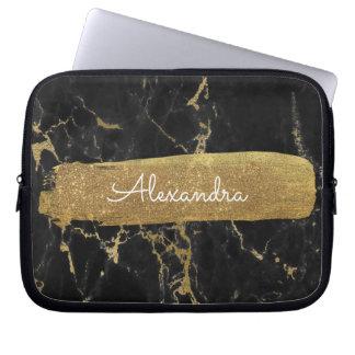 Capa Para Notebook Preto e mármore do ouro com folha e brilho de ouro