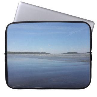 Capa Para Notebook Reflexões azuis da bolsa de laptop da baía de