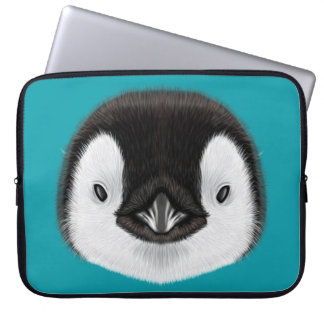 Capa Para Notebook Retrato ilustrado do pintainho do pinguim de