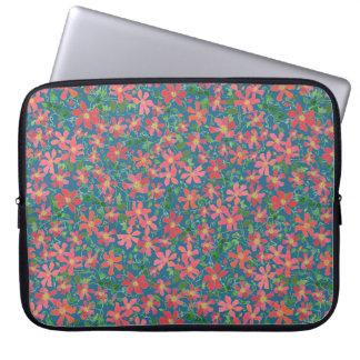Capa Para Notebook Rosa do Clematis, vermelho, floral alaranjado no
