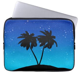 Capa Para Notebook Silhueta da palmeira em nivelar o azul com