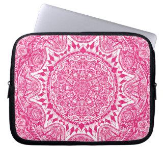 Capa Para Notebook Teste padrão cor-de-rosa da mandala