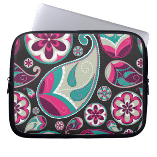 Capa Para Notebook Teste padrão cor-de-rosa de Paisley da cerceta