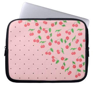 Capa Para Notebook teste padrão de bolinhas bonito do preto da cereja