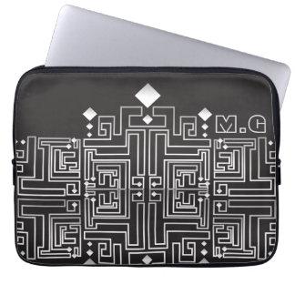 Capa Para Notebook Teste padrão preto e branco Monogrammed do